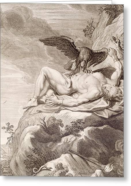 Prometheus Tortured By A Vulture Greeting Card by Bernard Picart