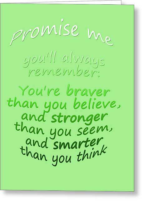 Poo Greeting Cards - Promise me - Winnie the Pooh - Green Greeting Card by Nomad Art And  Design