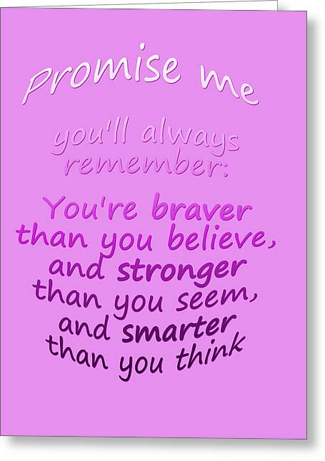 Poo Greeting Cards - Promise me - Winnie the Pooh - Pink Greeting Card by Nomad Art And  Design
