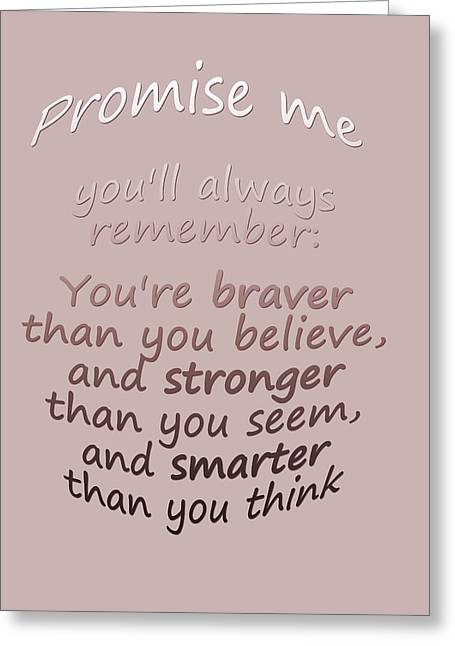 Poo Greeting Cards - Promise me - Winnie the Pooh  Greeting Card by Nomad Art And  Design