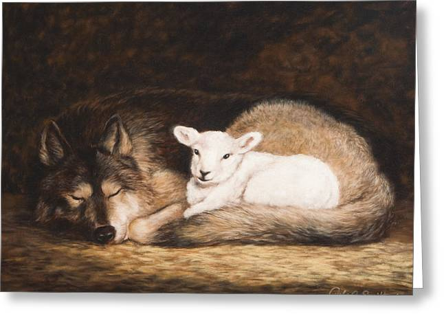 Wolf Pastels Greeting Cards - Promise of Peace Greeting Card by Gale Smith