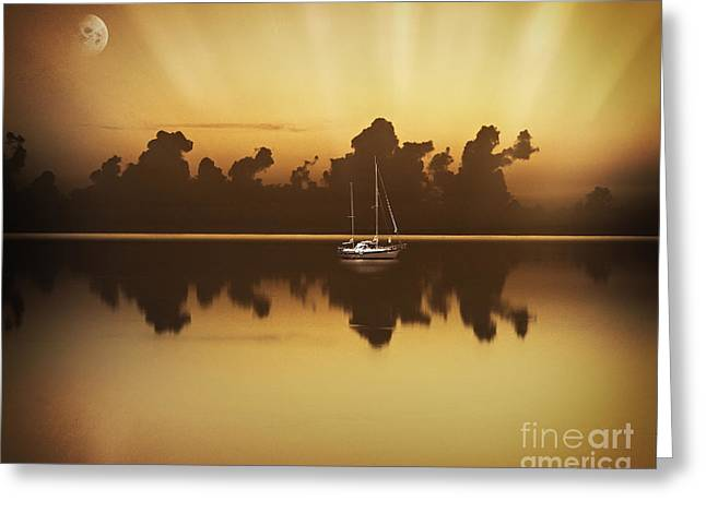 Boats In Reflecting Water Greeting Cards - Promise Of The Night Greeting Card by Edmund Nagele