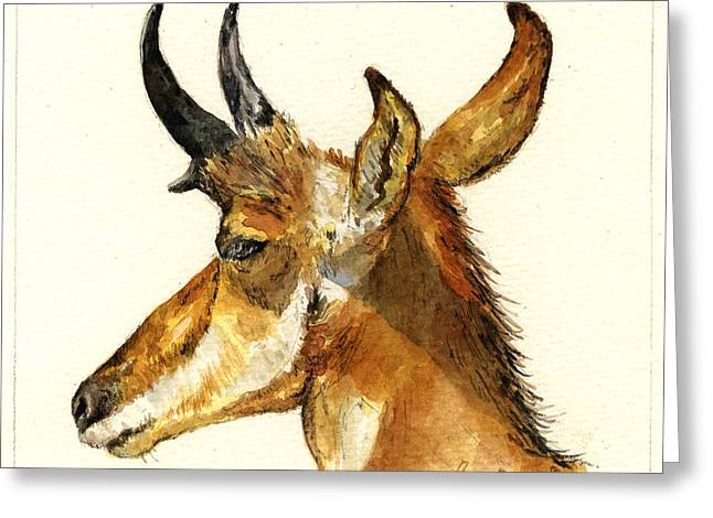 Pronghorn Greeting Cards - Pronghorn antelope Greeting Card by Juan  Bosco