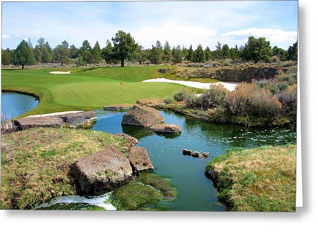 Hole 13 Greeting Cards - Pronghorn Golf Club Hole #13 Greeting Card by Scott Carda