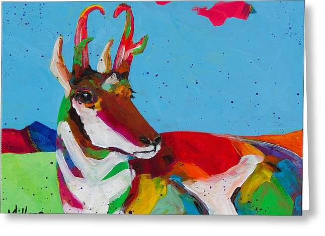 Colorado Artist Tracy Miller Greeting Cards - Pronghorn Pretty Greeting Card by Tracy Miller