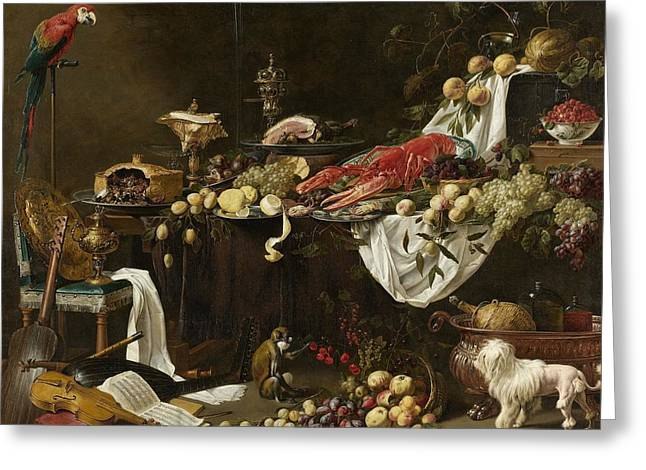 Pronk Greeting Cards - Pronk Still Life Greeting Card by Adriaen van Utrecht