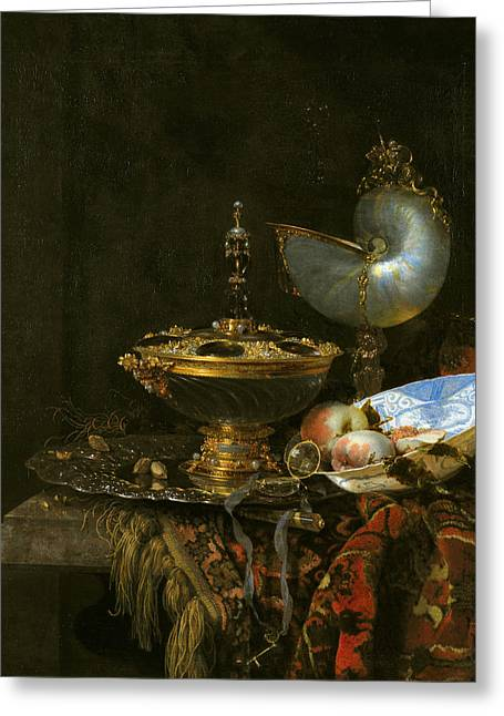 Pronk Greeting Cards - Pronk Still Life with Holbein Bowl Nautilus Cup Glass Goblet and Fruit Dish Greeting Card by Willem Kalf