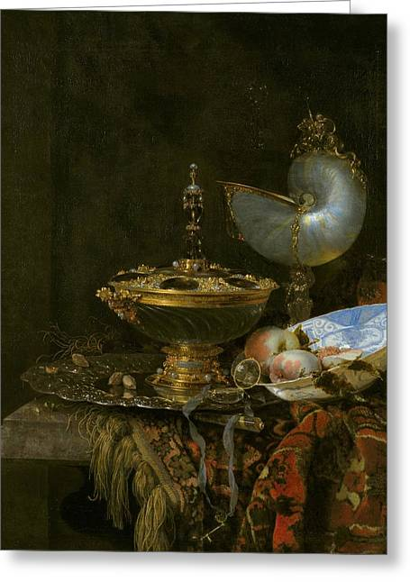 Pronk Greeting Cards - Pronk Still Life with Holbein Bowl Greeting Card by Willem Kalf