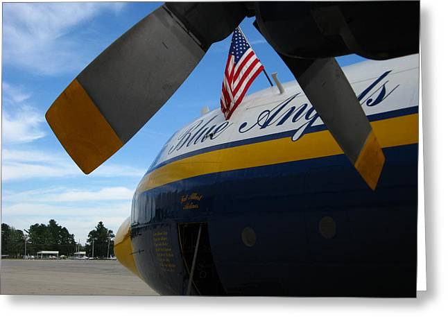 Military Airplanes Greeting Cards - Props to Old Glory Greeting Card by Bill Tomsa