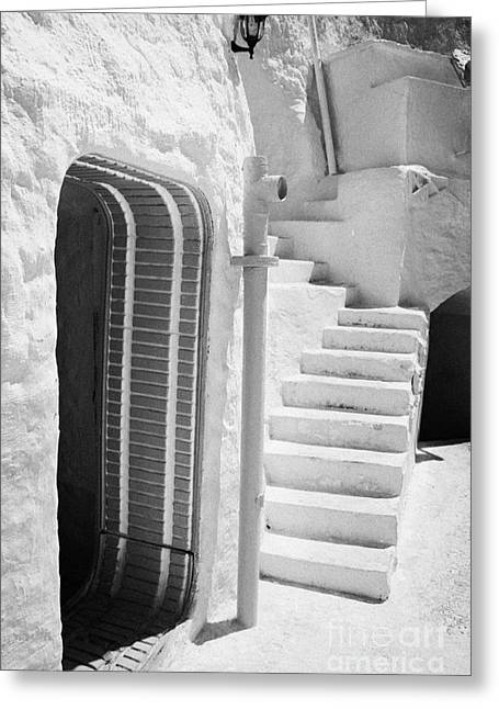 Dug Out Greeting Cards - prop doorway and steps at the Sidi Driss Hotel underground at Matmata Tunisia scene of Star Wars films vertical Greeting Card by Joe Fox