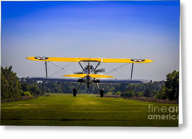 Biplane Greeting Cards - Prop Wash Greeting Card by Marvin Spates