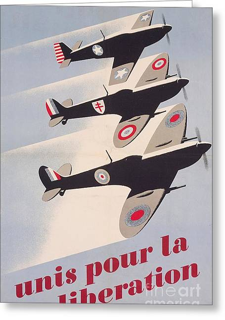 World War 2 Drawings Greeting Cards - Propaganda poster for liberation from World War II Greeting Card by Anonymous