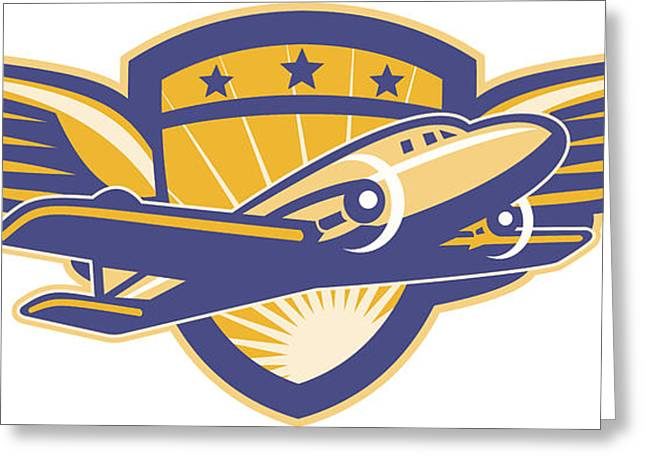 Propeller Greeting Cards - Propeller Airplane Shield Wings Retro Greeting Card by Aloysius Patrimonio