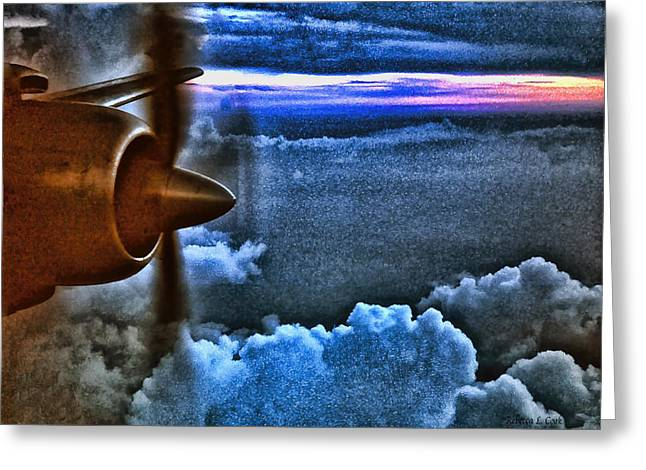 Passenger Plane Mixed Media Greeting Cards - Propeller Sunrise HDR Greeting Card by Bellesouth Studio
