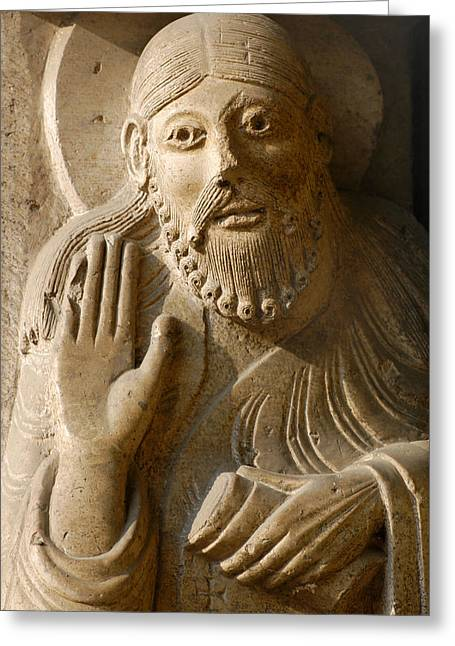 Statue Portrait Greeting Cards - Prophet Isaiah. Detail. Main Portico. 12th Century. Cremona Catedral. Italy Greeting Card by Bridgeman Images