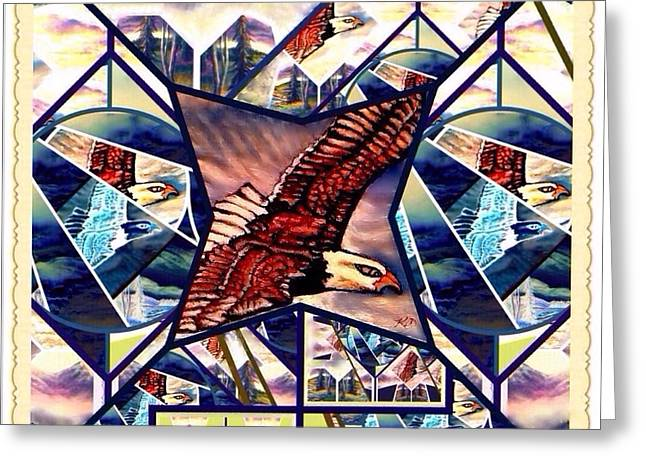 Crazy Quilt Greeting Cards - Prophetic Eagle Visions Storytelling in a Crazy Quilt Pattern Greeting Card by Kimberlee  Baxter