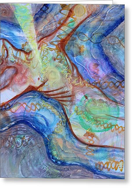 Healing Trauma Greeting Cards - Prophetic MS 33 Soul Retrieval Soul Repair Greeting Card by Anne Cameron Cutri