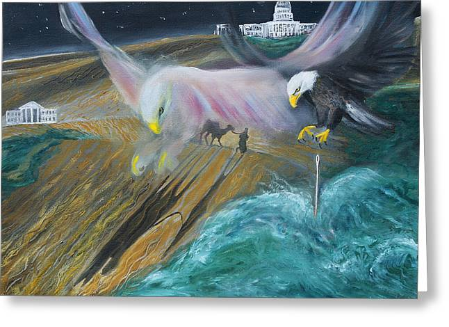 Prophetic Ms 36 Two Eagles Camel Through Eye Of Needle Parable Greeting Card by Anne Cameron Cutri