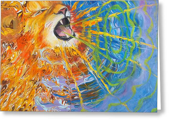 Anne Cameron Cutri Greeting Cards - Prophetic Sketch Painting 25 Lion of Judah awakens with a ROAR Greeting Card by Anne Cameron Cutri