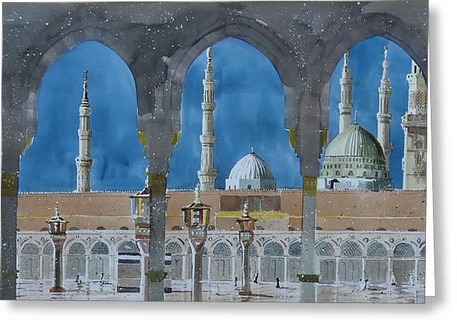 Prophet's Mosque Medina Greeting Card by Martin Giesen