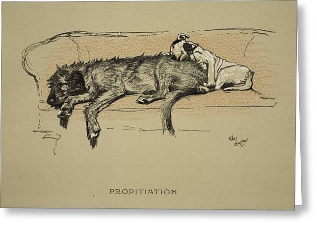 Terrier Dog Drawings Greeting Cards - Propitation, 1930, 1st Edition Greeting Card by Cecil Charles Windsor Aldin