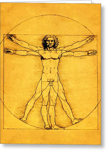 Proportions Greeting Cards - Proportions of the Human Figure Greeting Card by Leonardo da Vinci