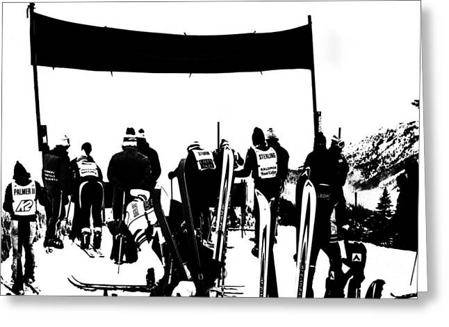 Ski Racing Greeting Cards - Pros Looking Over the Course Greeting Card by Larry Kjorvestad