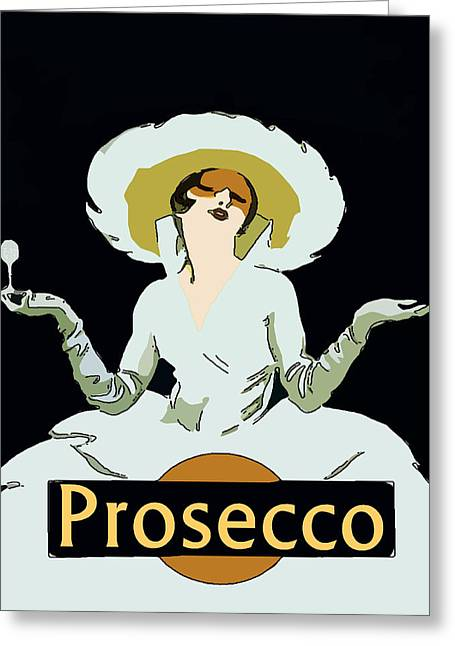 Prosecco Digital Greeting Cards - Prosecco Greeting Card by Fig Street Studio