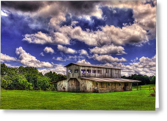 Red Roofed Barn Greeting Cards - Prospect Barn in a Cloud Filled Sky  Greeting Card by Reid Callaway