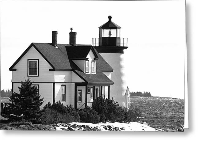 Maine Lighthouses Greeting Cards - Prospect Harbor Lighthouse Greeting Card by Susan Garver