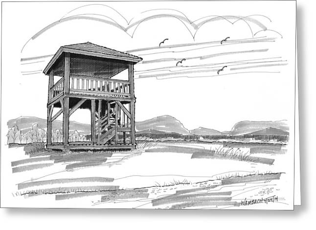 Prospects Drawings Greeting Cards - Prospect Hill Observatory Tower Greeting Card by Richard Wambach