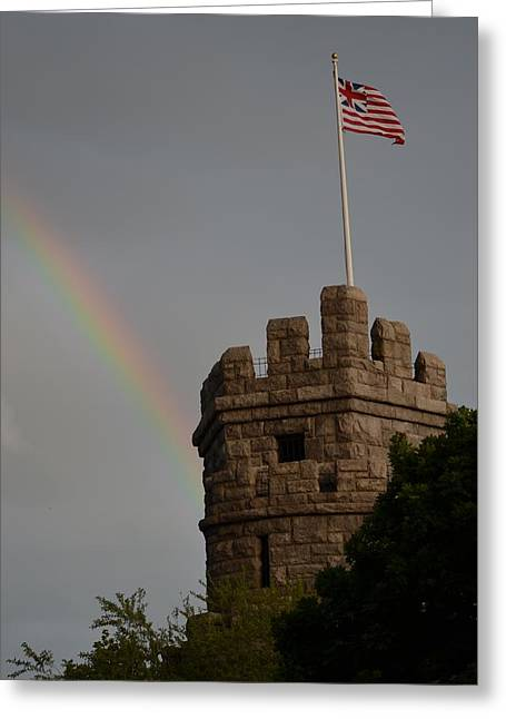 Oxford. Oxford Ma. Massachusetts Greeting Cards - Prospect Hill Somerville MA rainbow Greeting Card by Toby McGuire