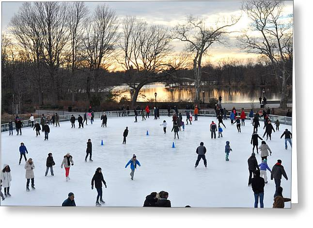 Prospects Greeting Cards - Prospect Park Skating Rink at sunset Greeting Card by Diane Lent