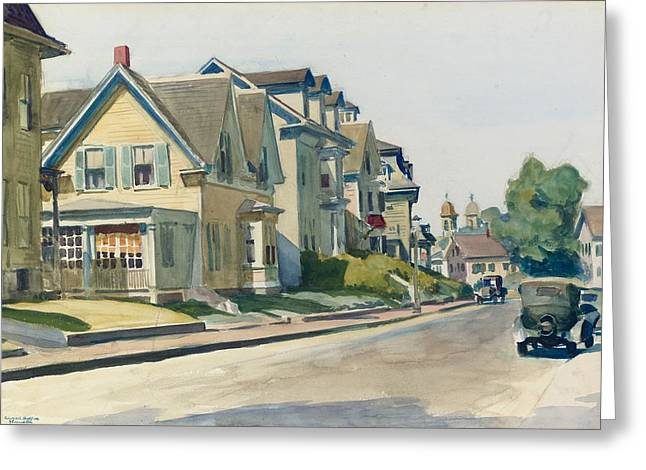 Shingles Greeting Cards - Prospect Street Greeting Card by Edward Hopper