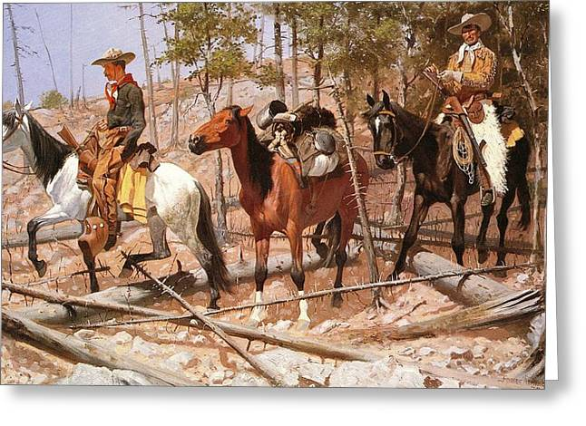 Remington Greeting Cards - Prospecting For Cattle Range Greeting Card by Frederic Remington