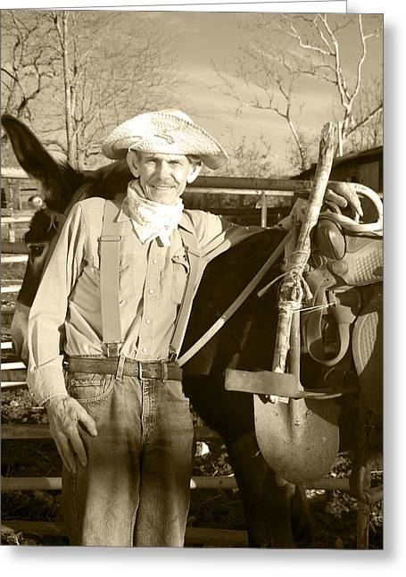 Suspenders Greeting Cards - Prospector Clyde Greeting Card by Mary Ely