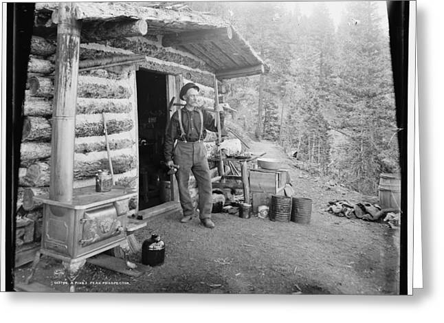 Mining Photos Greeting Cards - Prospector in Pikes Peak Greeting Card by Nomad Art And  Design