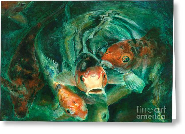 Photorealism Greeting Cards - Prosperity Koi Greeting Card by Lyn Pacificar