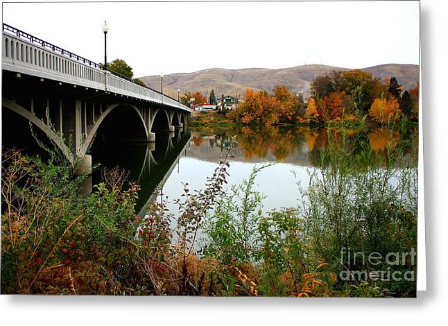 Yakima Valley Greeting Cards - Prosser Bridge in Autumn Greeting Card by Carol Groenen