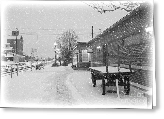 Station Wagon Greeting Cards - Prosser Winter Train Station  Greeting Card by Carol Groenen