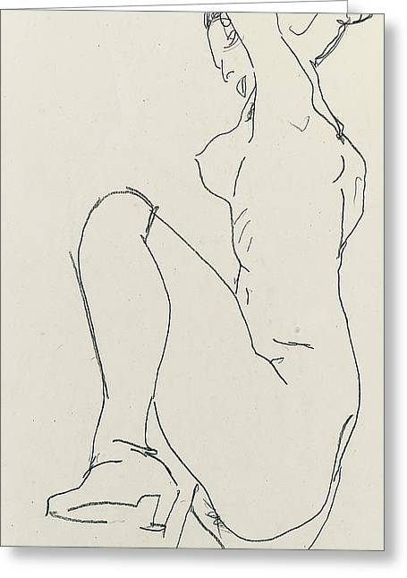 Odalisque Drawings Greeting Cards - Prostrate female nude Greeting Card by Egon Schiele