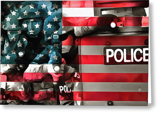 Police Department Greeting Cards - Protect And Serve Greeting Card by Dan Sproul