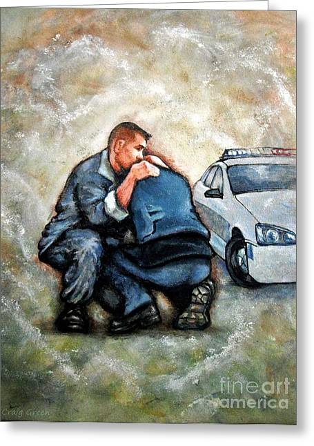Law Enforcement Paintings Greeting Cards - Protect Serve Survive Greeting Card by Craig Green