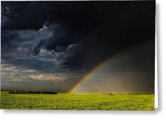 Protected By The Rainbow Greeting Card by Christy Patino