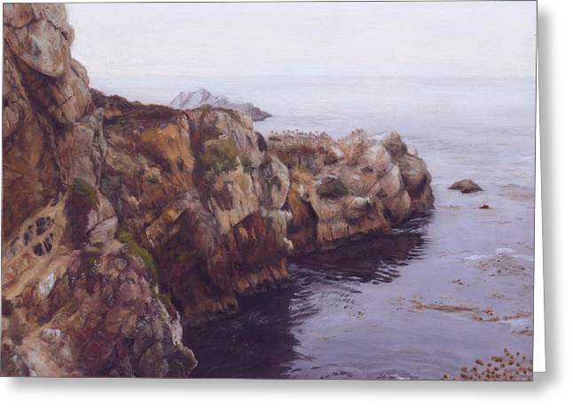 Big Sur Ca Paintings Greeting Cards - Protected Inlet Greeting Card by Terry Guyer