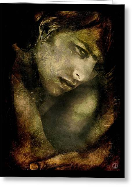Male Portraits Digital Art Greeting Cards - Protecting his soft spot Greeting Card by Gun Legler
