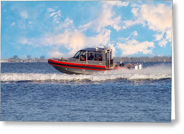 Homeland Greeting Cards - Protecting Our Waters - Coast Guard Greeting Card by Kim Hojnacki