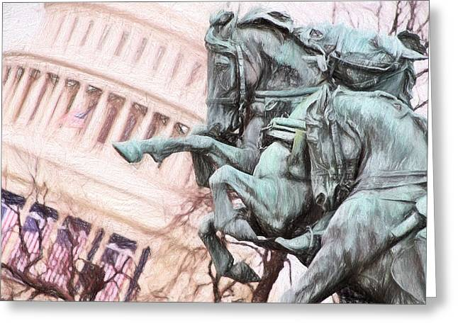 Inauguration Greeting Cards - Protecting The Capital Greeting Card by Cindy Archbell