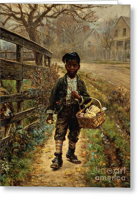 Guard Dog Greeting Cards - Protecting the Groceries Greeting Card by Edward Lamson Henry