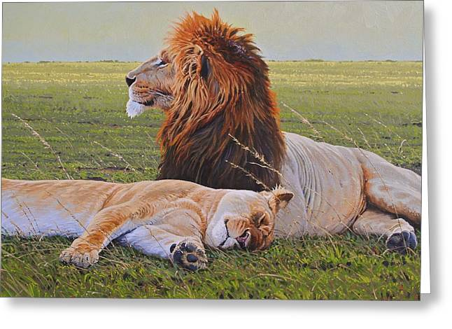 Protecting the Queen Greeting Card by Aaron Blaise
